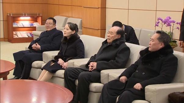 Delegação norte-coreana na Coréia do Sul. Ao centro, Kim Yo-jong e Kim Yong-nam, respectivamente.